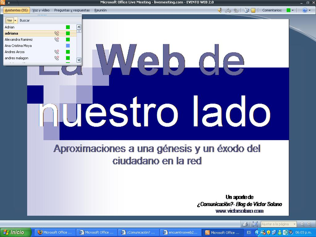 Presentación de La web de nuestro lado