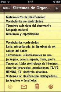 Notas en un iPod Touch