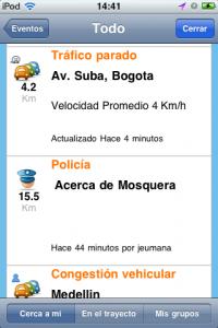 Reportes de Waze en Bogotá