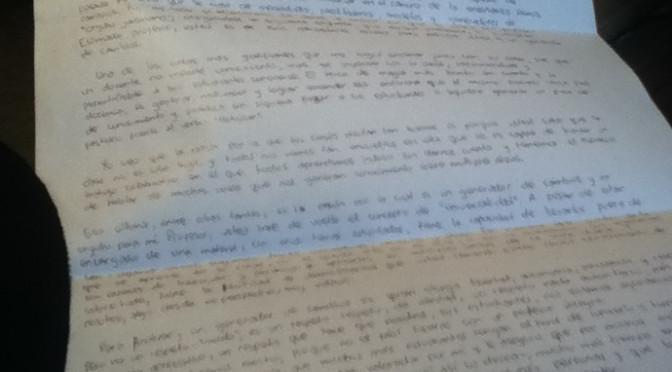 Carta a profesor orgullo javeriano