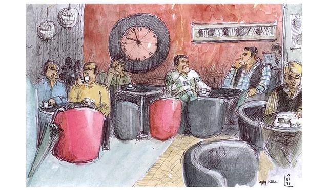 croquis aquarellé: scène de café à Faro - Portugal