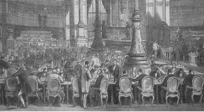 Nouvelle salle de la Bibliothèque imperiale, gravure tirée de L'Illustration du 30 mai 1868 (Bibliothèque des arts décoratifs, Paris).