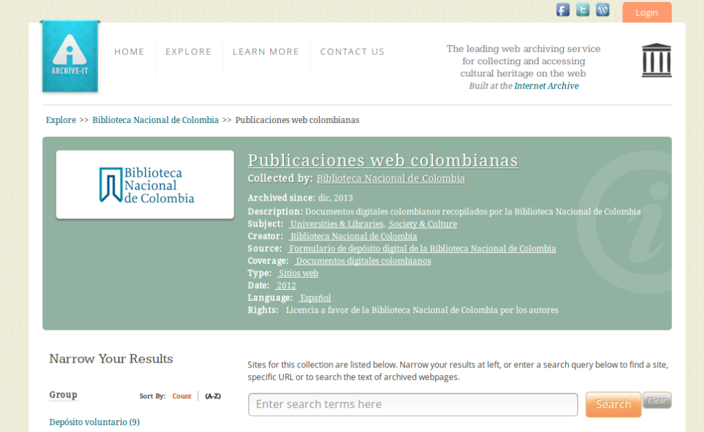 Archive-it de la Biblioteca Nacional de Colombia
