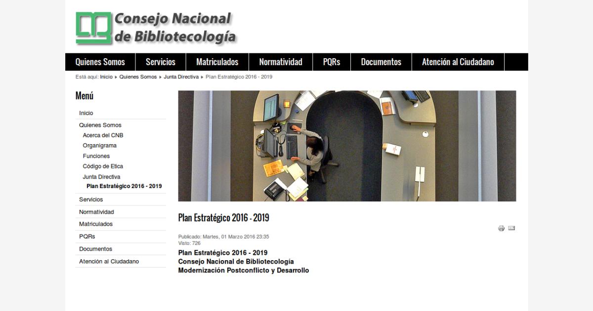 Sitio web del Consejo Nacional de Bibliotecología de Colombia, Plan estratégico 2016 - 2019