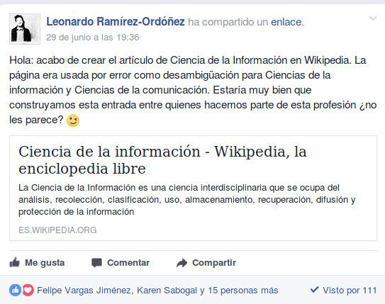 Invitación a elaborar el artículo de Ciencia de la información en Wikipedia a través de un grupo de Facebook