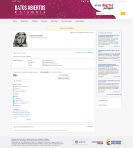Cuenta creada en el Portas de Datos de Colombia