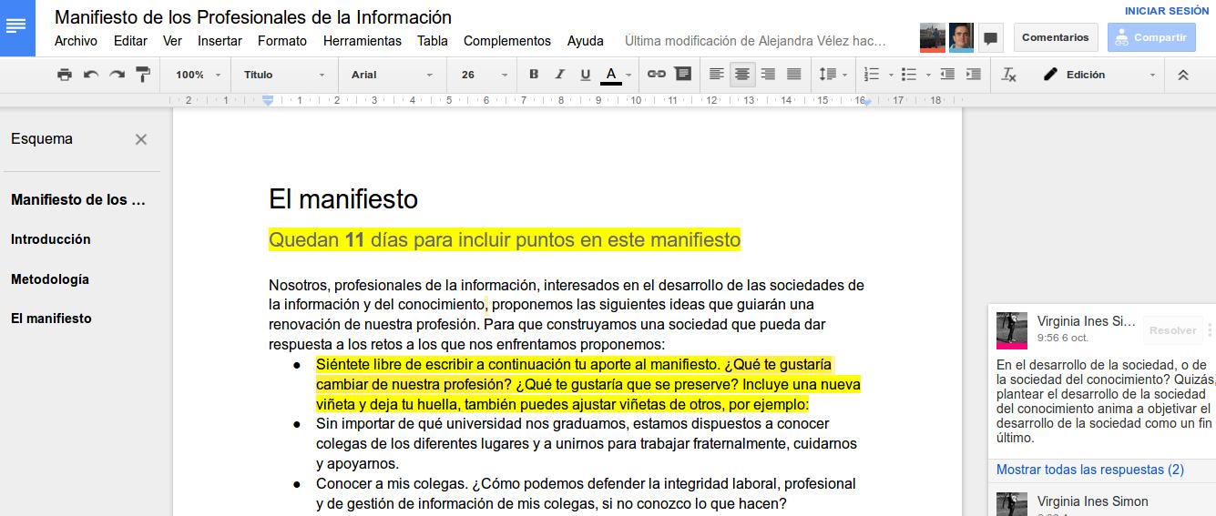 Manifiesto de los profesionales de la información - Captura de pantalla de http://a.hiperterminal.com/manifiesto