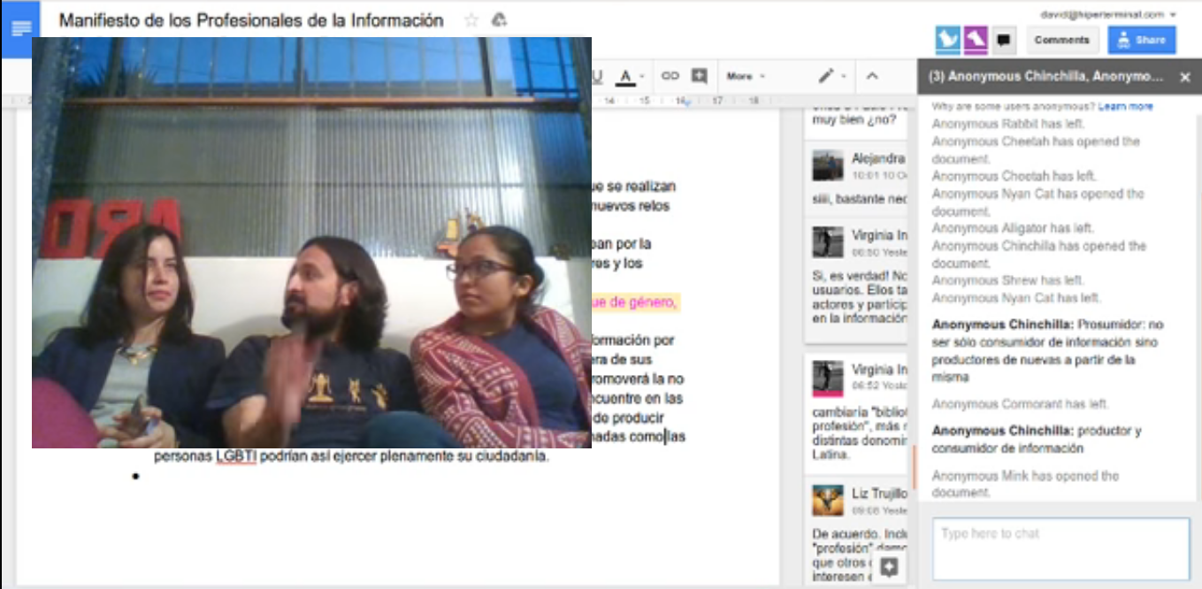 Conversación en streaming sobre el Manifiesto de los profesionales de la información