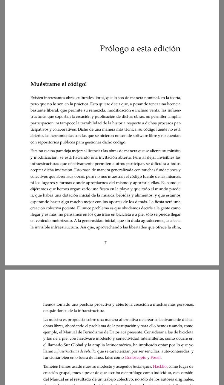PDF del Manual de periodismo de datos hecho con Grafoscópio, leído en un celular.