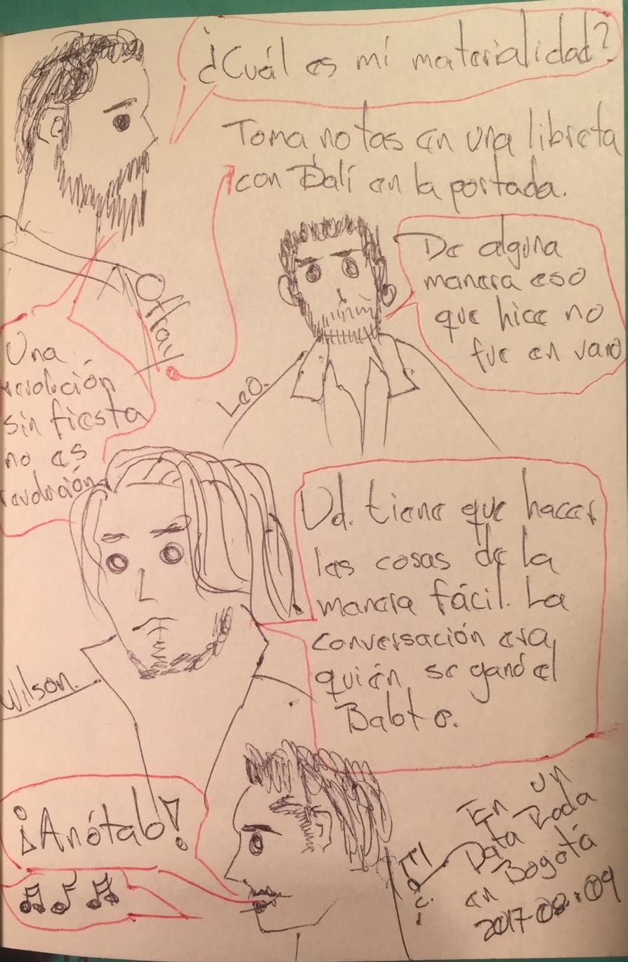 Ilustraciones de algunas conversaciones durante un Data Roda en Bogotá