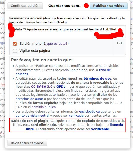 Documentando los cambios al artículo en Wikipedia