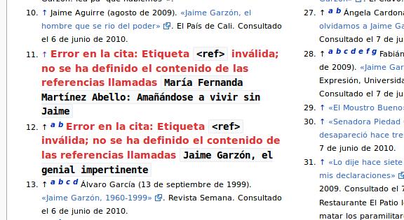 Mensajes de error en las referencias del artículo de Wikipedia de Jaime Garzón