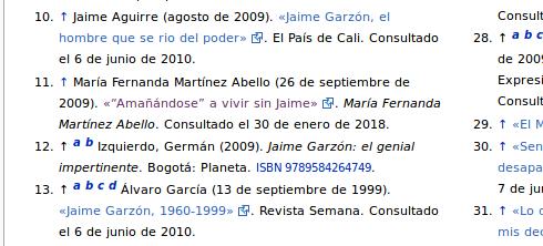 Referencias corregidas en el artículo de Jaime Garzón en Wikipedia