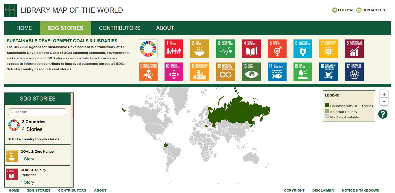 Captura de pantalla del Mapa del Mundo de las Bibliotecas de IFLA, en la sección de historias
