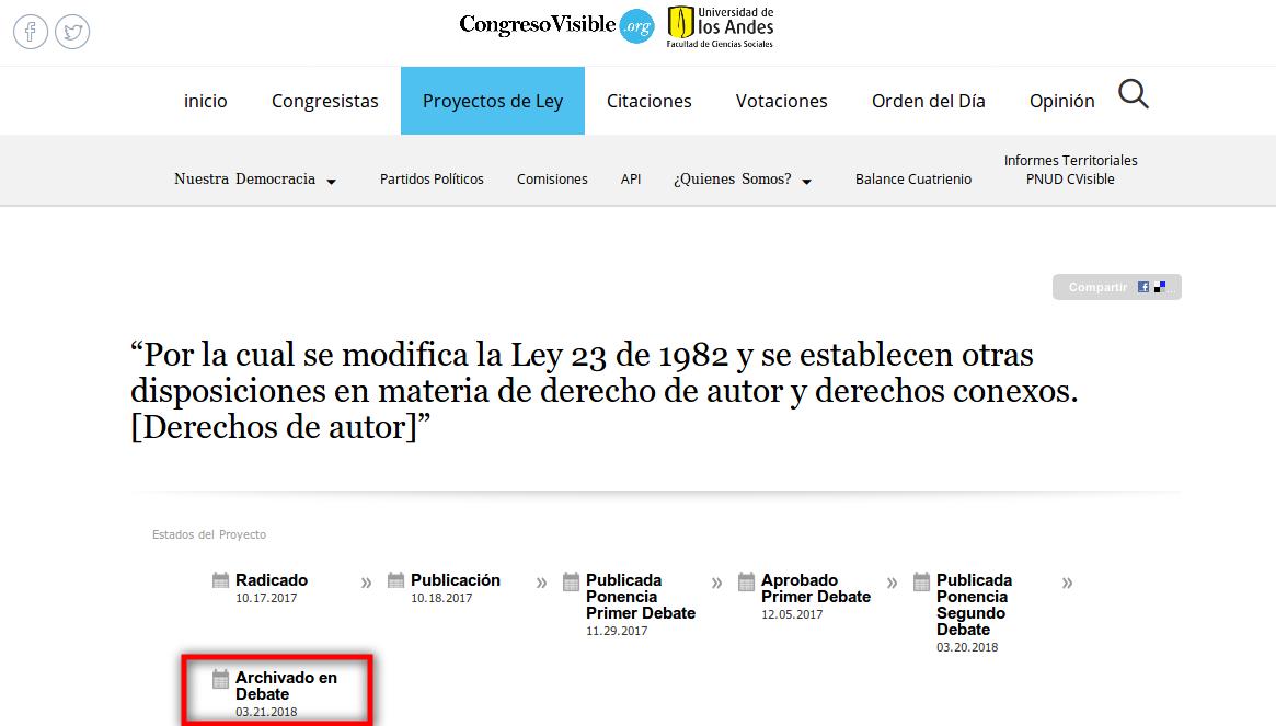 Captura de pantalla de Congreso Visible sobre el proyecto de ley 146 de 2017Captura de pantalla de Congreso Visible sobre el proyecto de ley 146 de 2017 donde se anuncia que el proyecto es archivado en segundo debate.