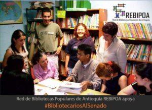 Grupo de #BibliotecariosAlSenado de la Red de Bibliotecas Populares de Antioquia REBIPOA, 2018