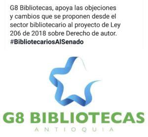 Grupo de #BibliotecariosAlSenado del G8 Bibliotecas de Antioquia, 2018