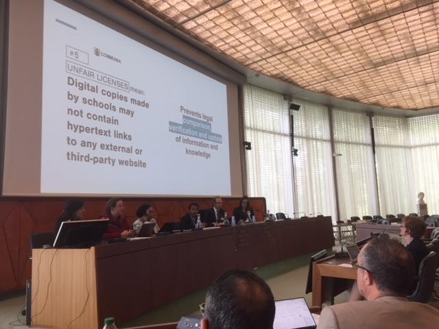 Presentación de Teresa Nobre de Communia en el evento alterno de SCCR36