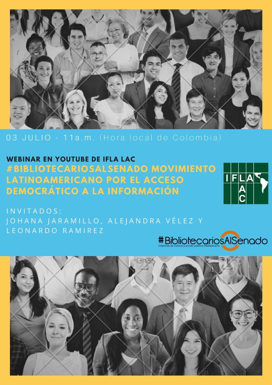 Invitación al webinar de IFLA LAC sobre #BibliotecariosAlSenado