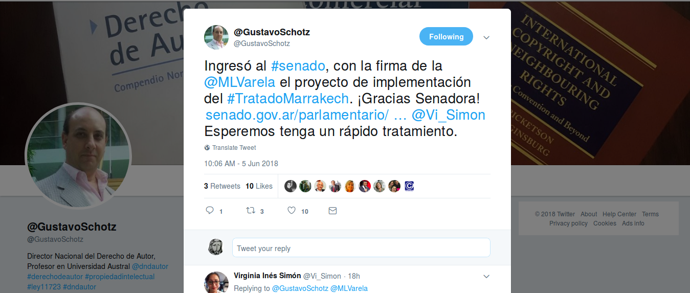 Trino sobre el proyecto de ley para implementar el Tratado de Marrakech en Argentina