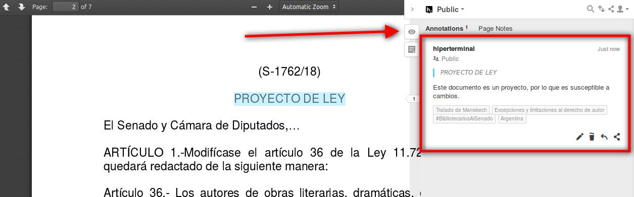Anotación abierta del documento de proyecto de ley de implementación del Tratado de Marrakech en Argentina, mediante Hypothes.is