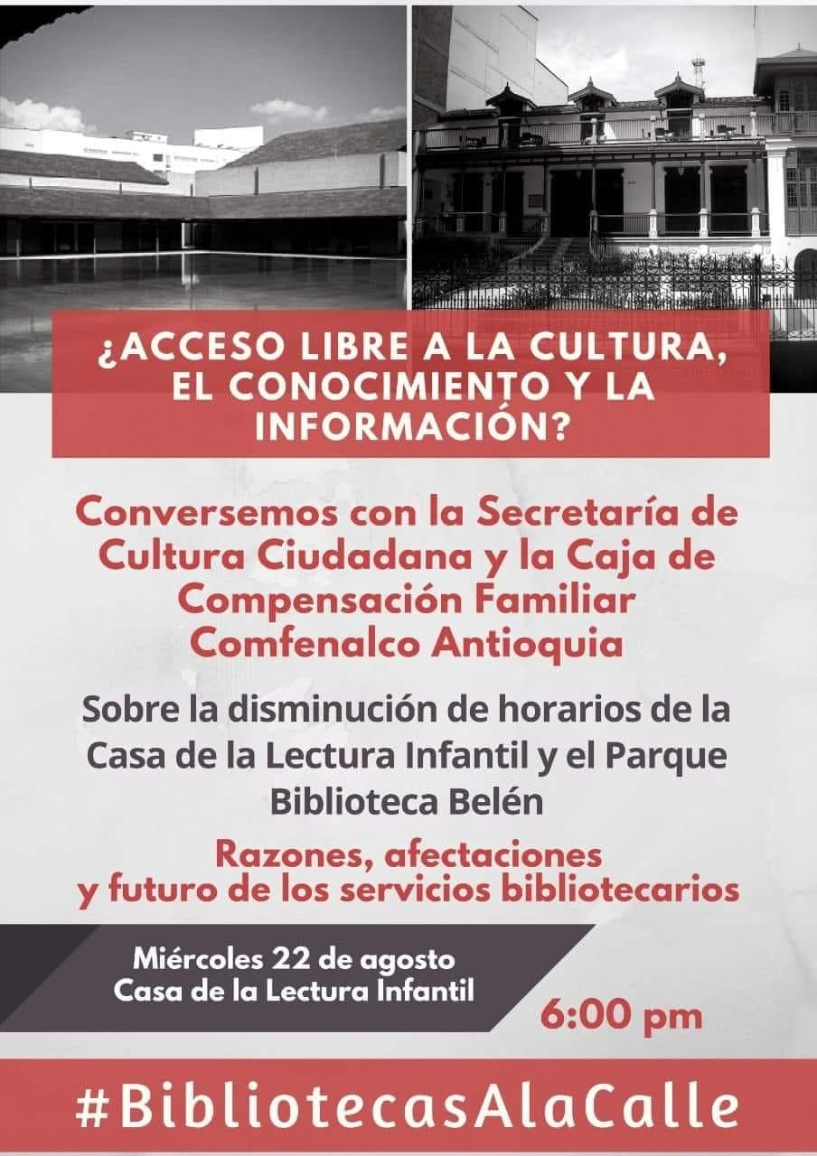 Invitación de #BibliotecariosALaCalle para conversar sobre la disminución de horarios y servicios en bibliotecas en Medellín, Colombia