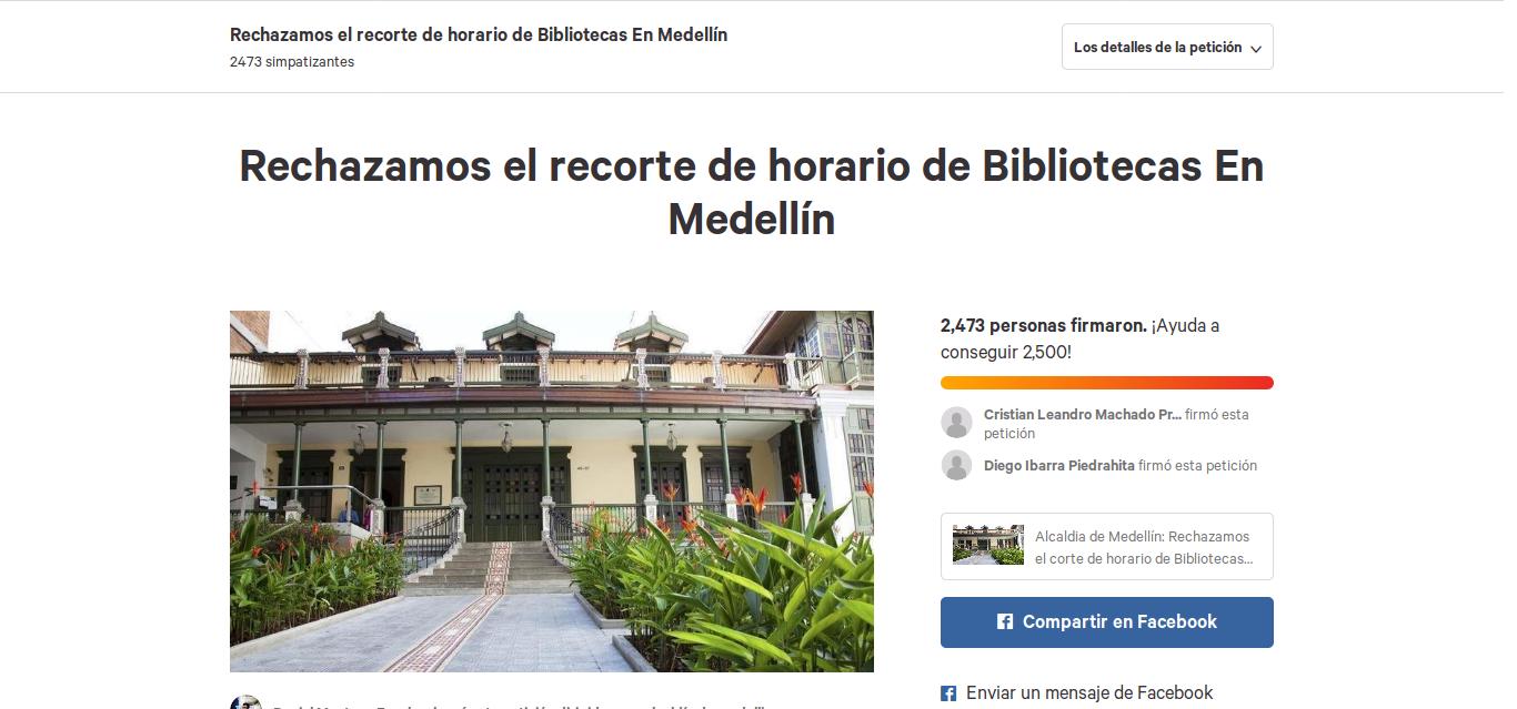 Rechazamos el recorte de horario de Bibliotecas En Medellín