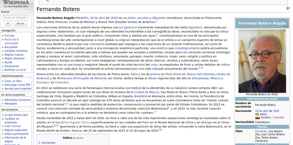 Artículo en Wikipedia del pintor colombiano Fernando Botero