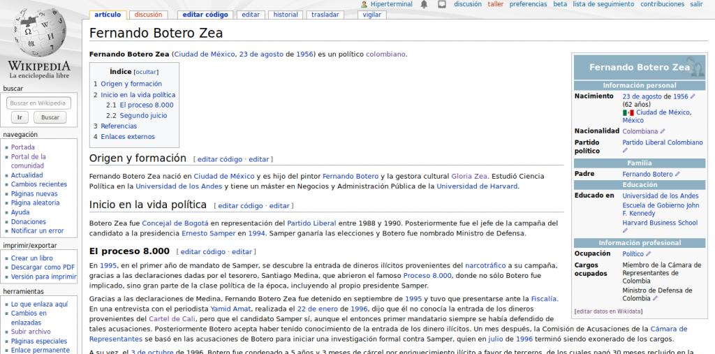 Artículo en Wikipedia de Fernando Botero Zea, luego de enlazar a su padre mediante Wikidata.