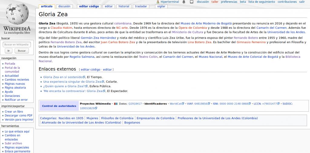 Artículo en Wikipedia de Gloria Zea
