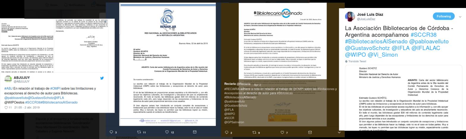 Captura de pantalla de trinos del sector bibliotecario pidiendo apoyo a IFLA desde Argentina
