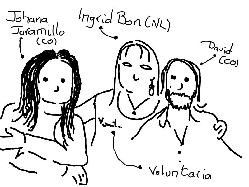 Johana Jaramillo (Colombia), Ingrid Bon (Países Bajos) y David Ramírez-Ordóñez (Colombia) en #WLIC 2019