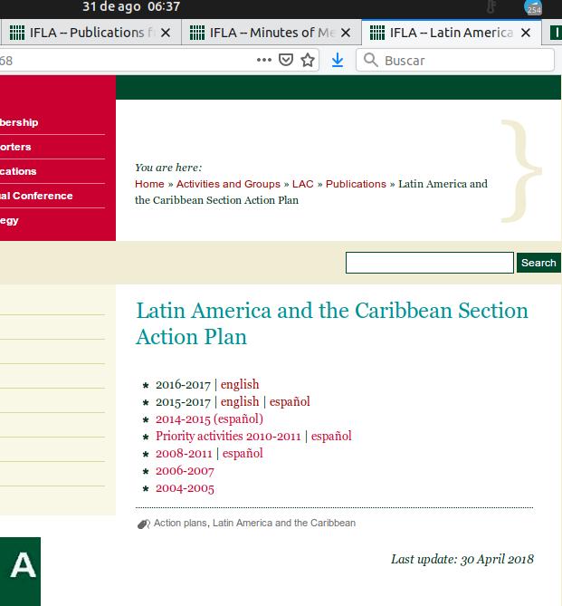 Captura de pantalla del sitio web de IFLA con los planes anuales de la sección. A agosto 31 de 2019 a las 6 AM, los planes de los años 2018 y 2019 no se encuentran disponibles par aconsulta