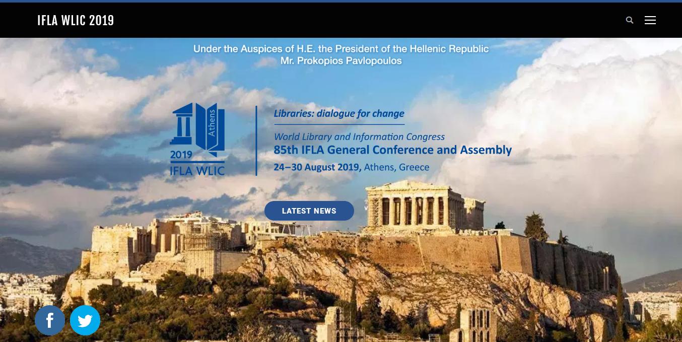 Congreso mundial de información y bibliotecas de IFLA 2019 en Atenas, Grecia