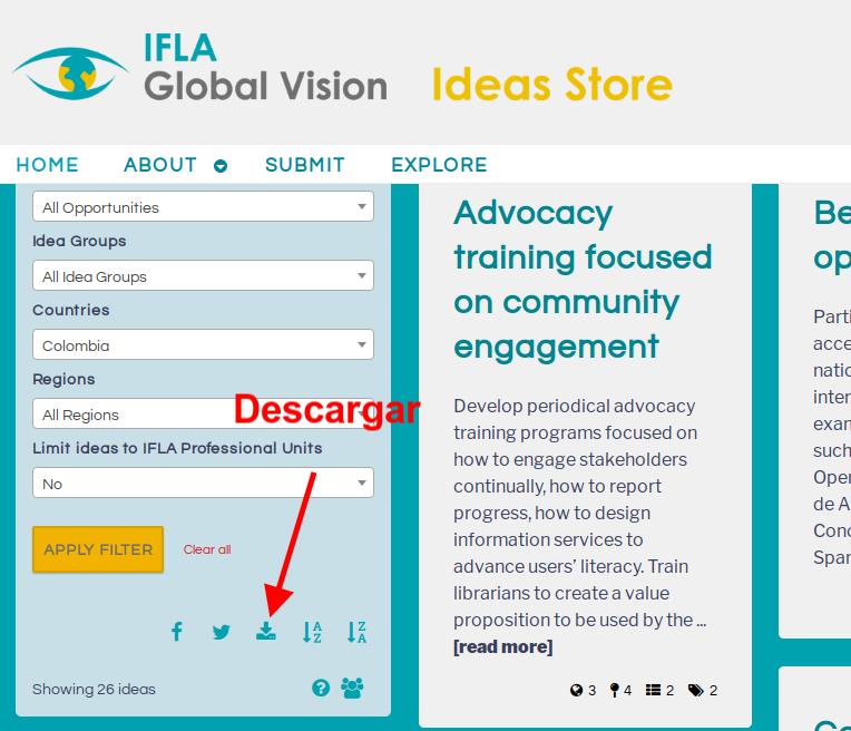 Botón para descargar el set de datos del Almacén de Ideas de IFLA