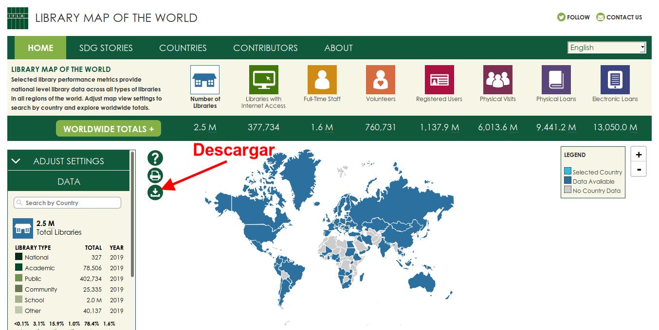 Botón de descarga del Mapa Mundial de las Bibliotecas de IFLA