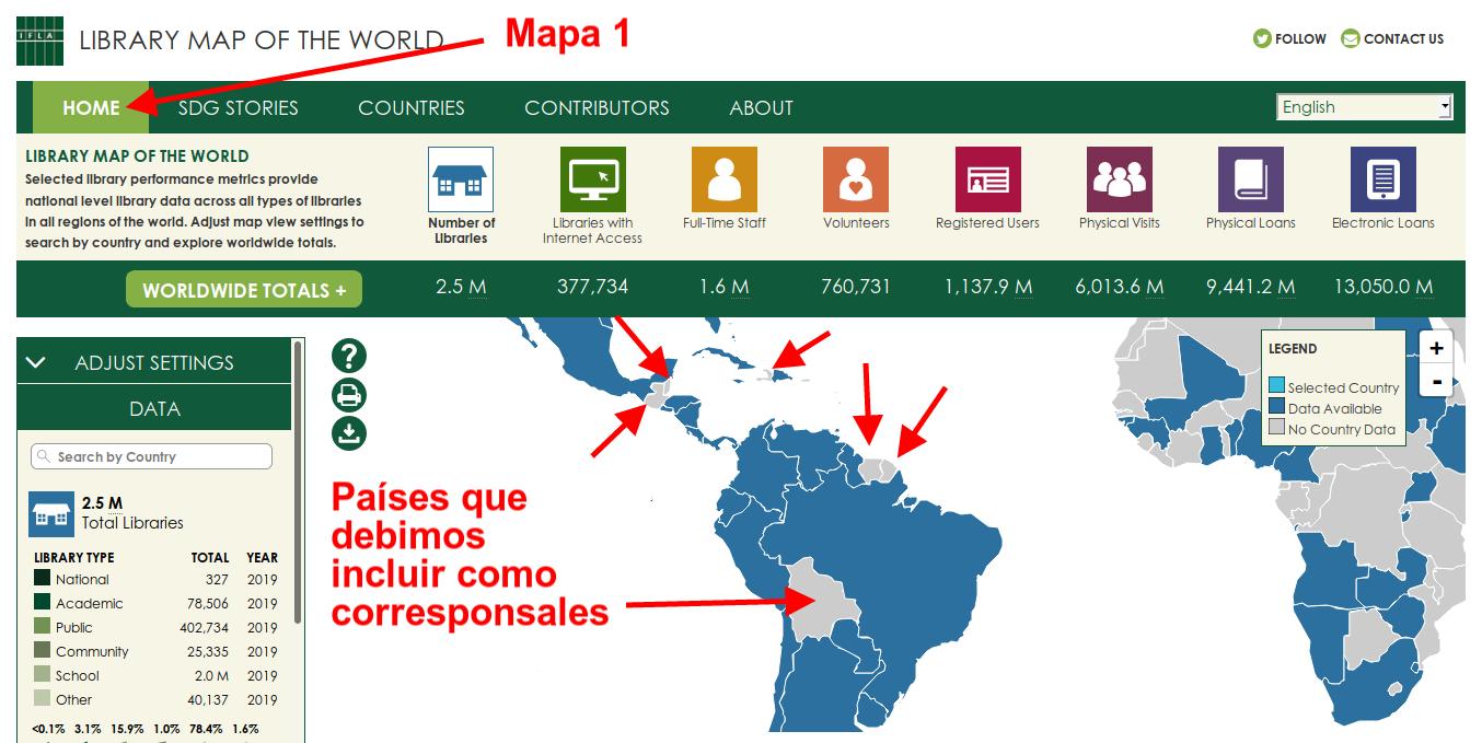 Mapa Mundial de las Bibliotecas de IFLA, señalando los países de Latinoamérica y el Caribe donde no hay datos, lo que implica una baja participación en las actividades de IFLA en este proyecto.